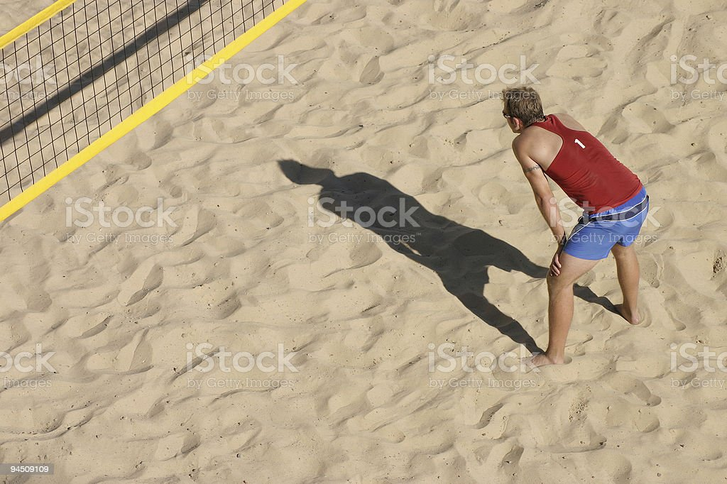 Beachvolley waiting for the ball royalty-free stock photo