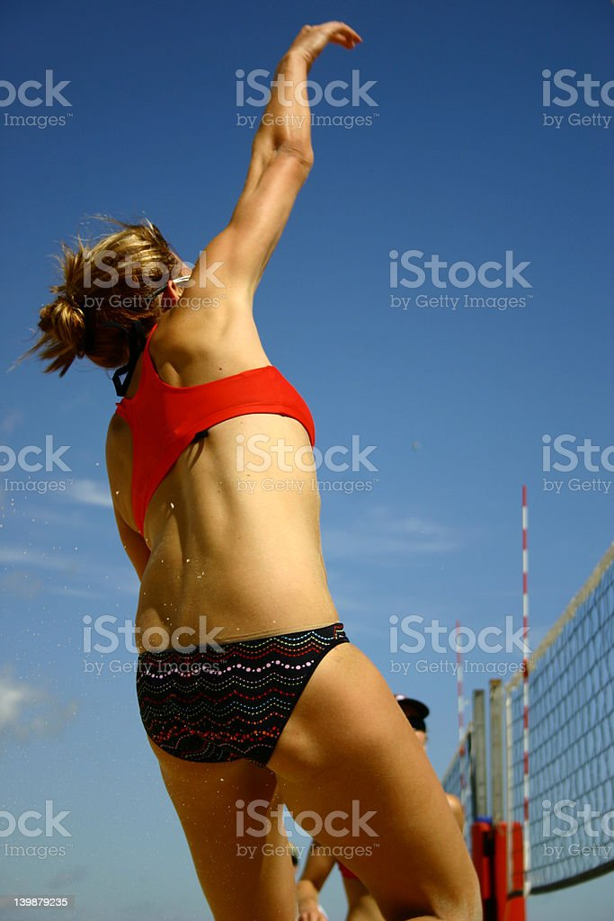 BeachVolleyball female Jump Spike hit stock photo