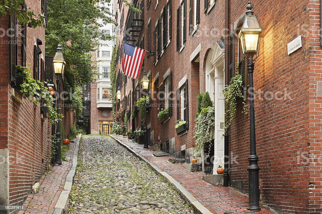 Beacon Hill Boston stock photo