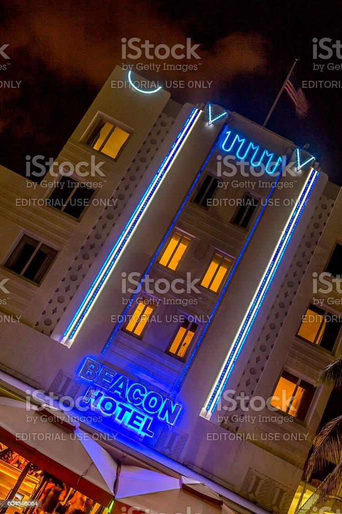 Beacon hotel at Ocean drive in Miami Beach stock photo