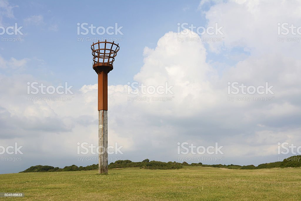 Beacon on East Hill cliff in Hastings, England stock photo