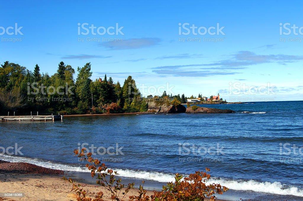 Beacon on Keweenaw Peninsula stock photo