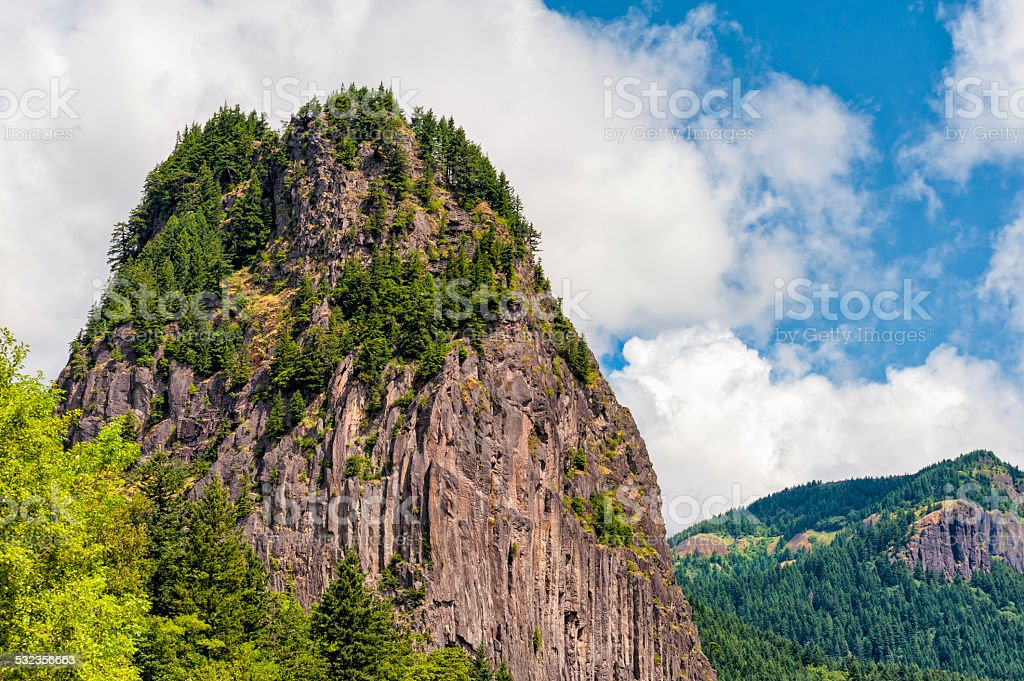 Beacon Rock In The Columbia River Gorge stock photo