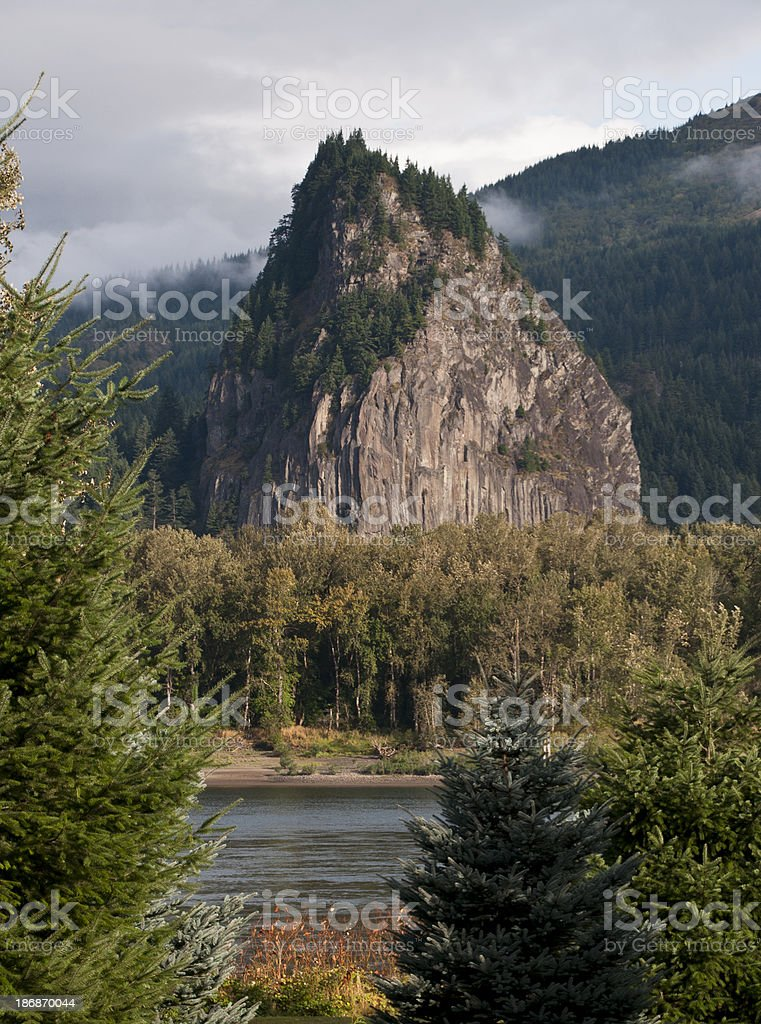 Beacon Rock, named by Lewis and Clark along Columbia River stock photo