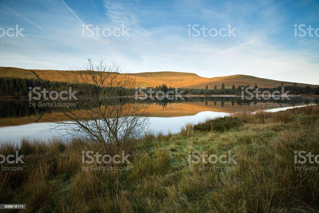 Beacons Reservoir, Brecon Beacons National Park, Wales. stock photo
