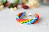 Bead crocheted bracelet of a rainbow colors
