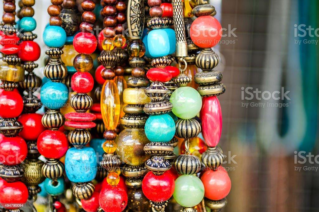 bead necklaces stock photo