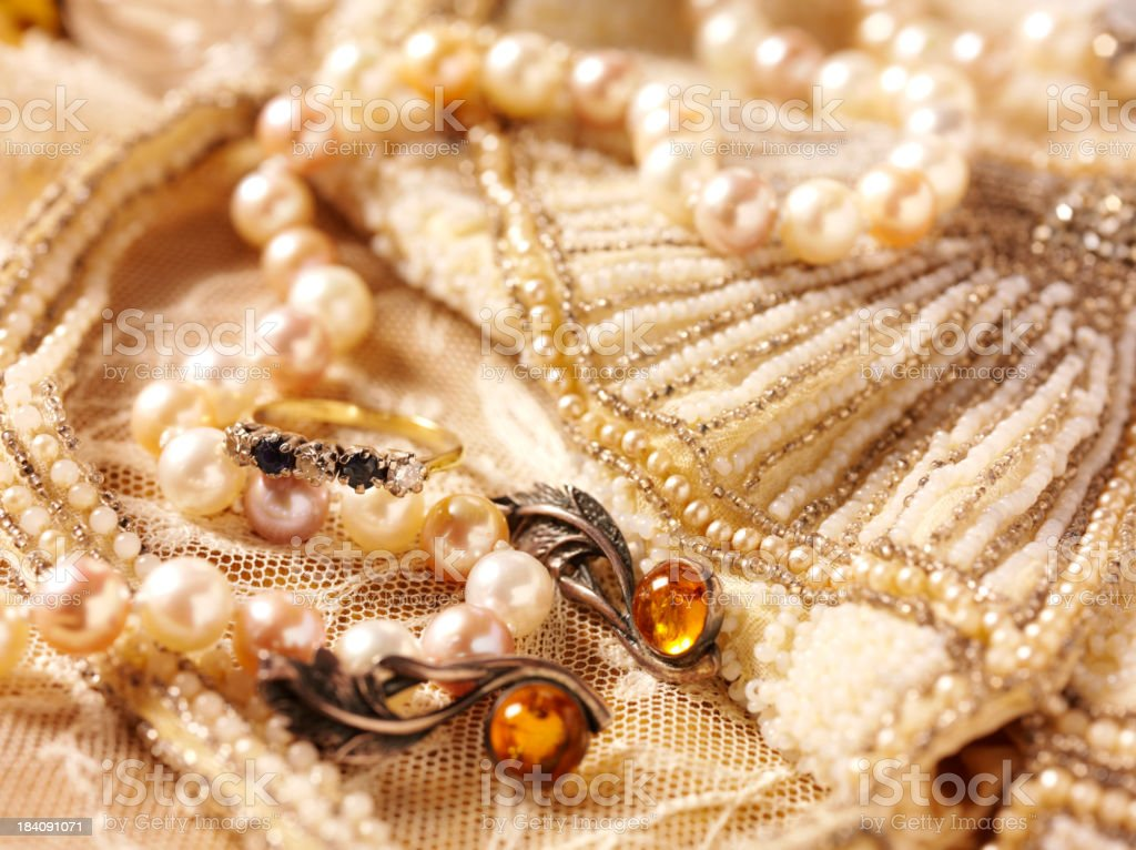 Beaded Bag and Vintage Jewellery royalty-free stock photo