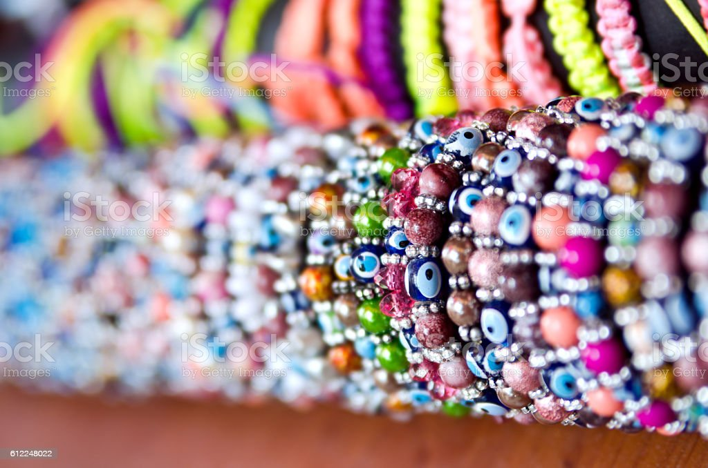 Beaded Bracelets amulet Nazar bondzhuk stock photo