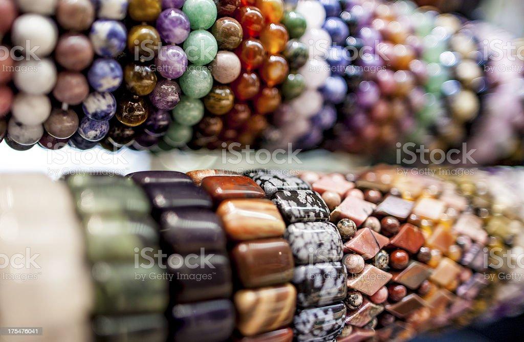 beaded colorful gem bracelet stock photo