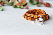 Beaded Crochet Necklace from amber color beads
