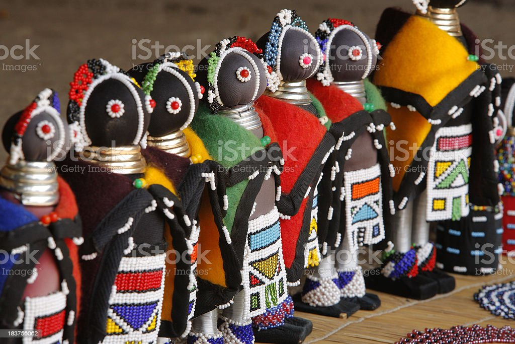 Beaded Ndebele Dolls South Africa stock photo