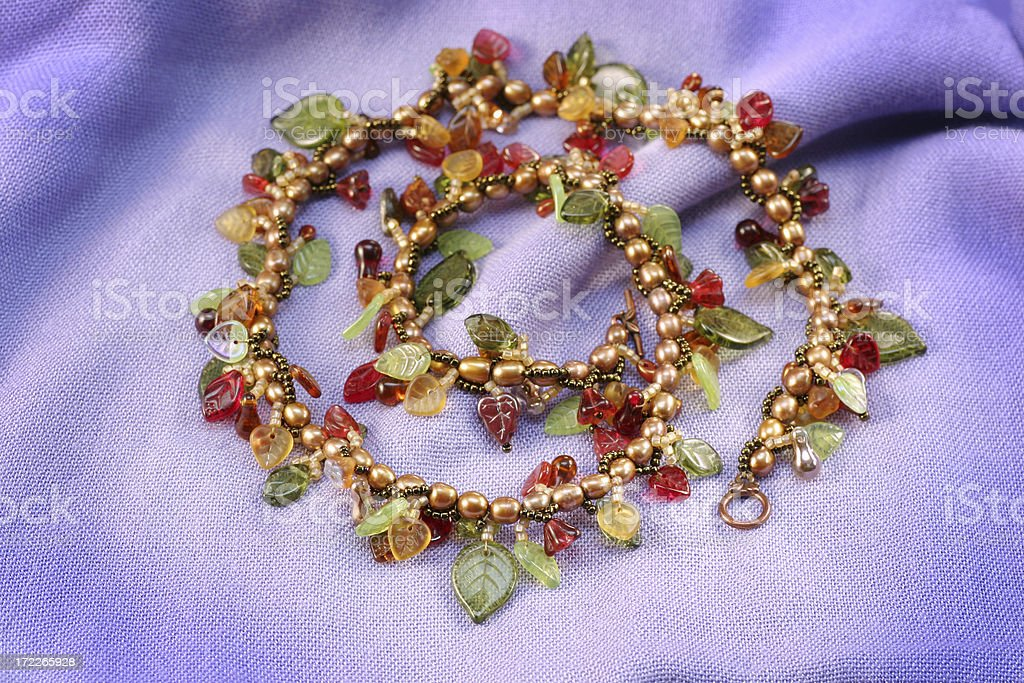 Beaded Necklace with semi precious stones royalty-free stock photo