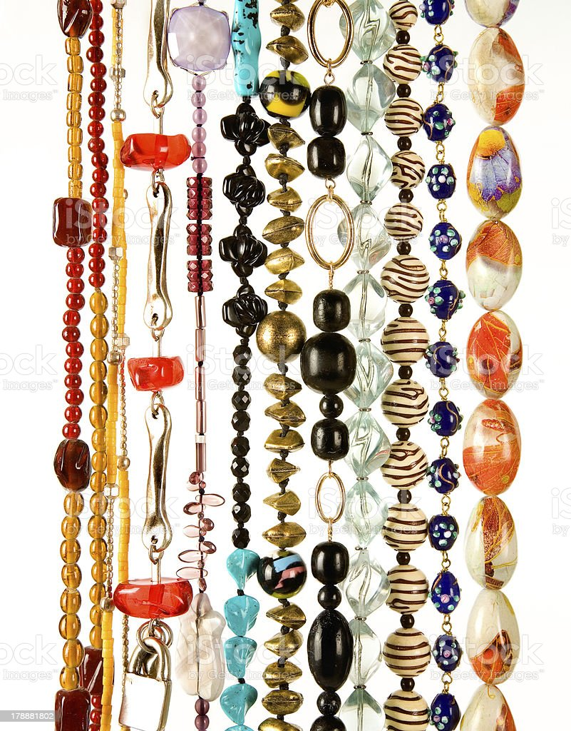 Beaded necklaces fashion composition royalty-free stock photo