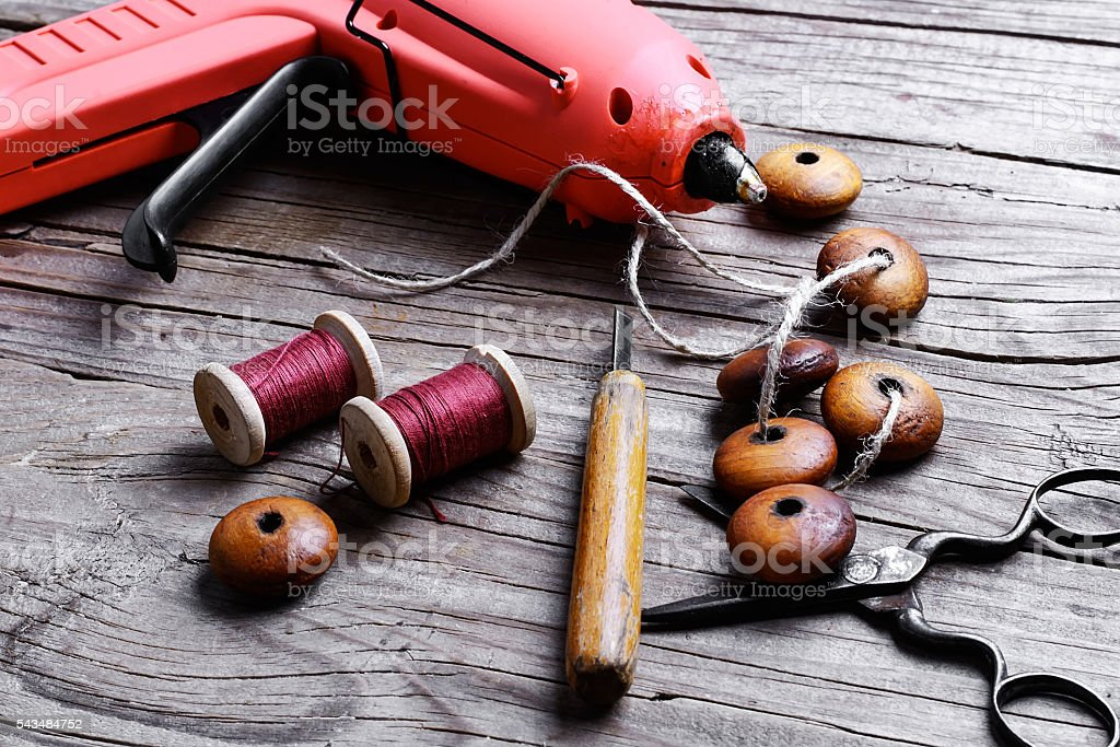 beads and set of tools stock photo