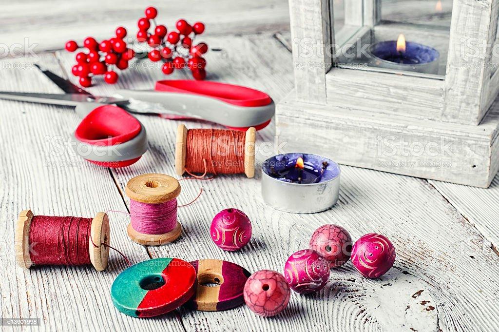 beads and workmanship stock photo