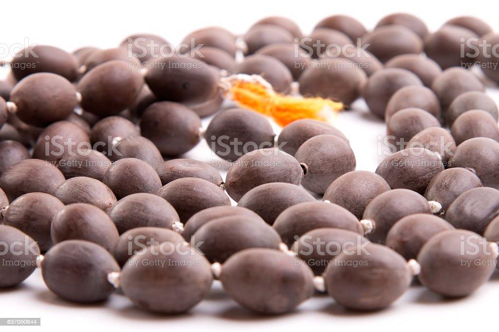 Beads made of lotus seeds stock photo