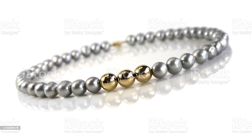 Beads of  gray pearls stock photo