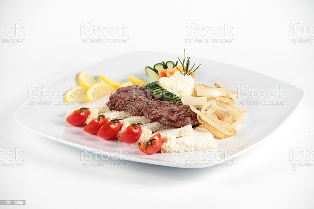 Beaf stake served with vegetables royalty-free stock photo