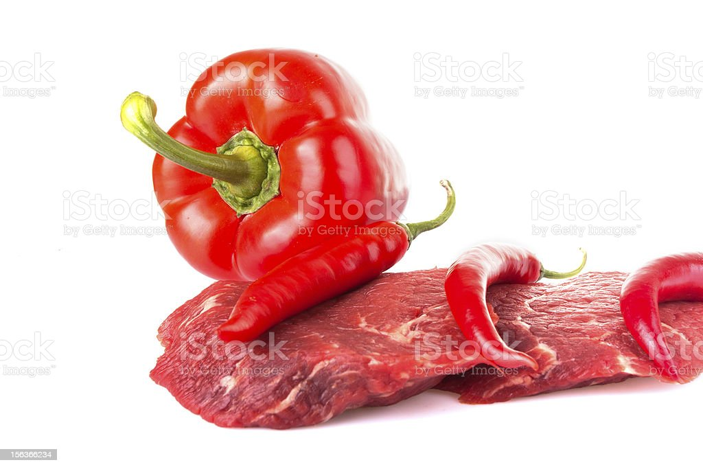 Beaf with chili pepper royalty-free stock photo