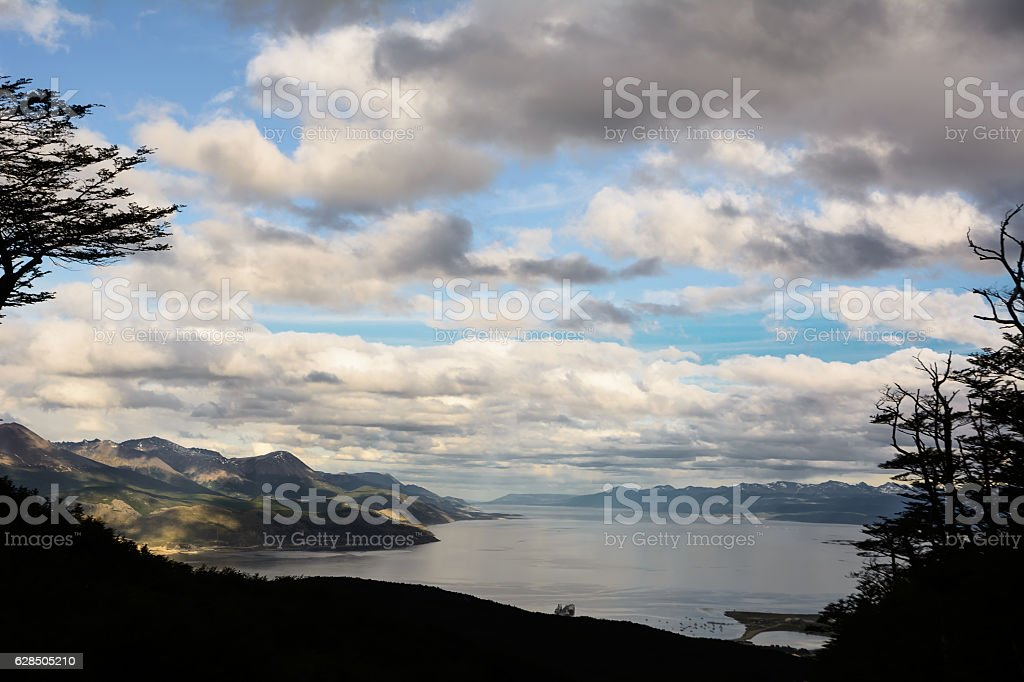 Beagle channel and Ushuaia seen from the Martial Glacier stock photo