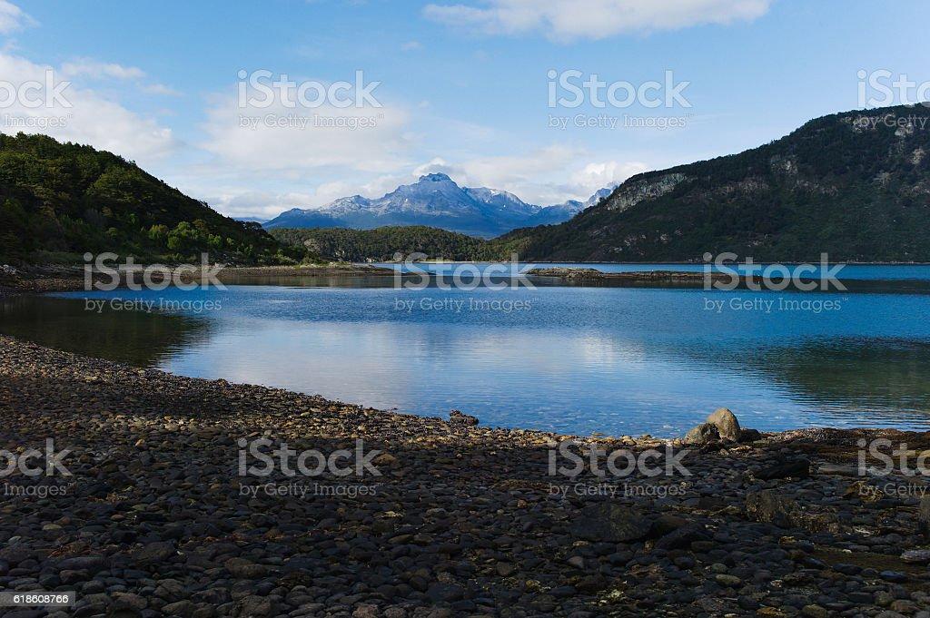 Beagle Channel in Tierra del Fuego stock photo