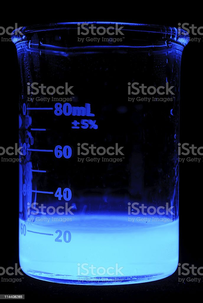 Beaker of Glowing Blue Chemical royalty-free stock photo