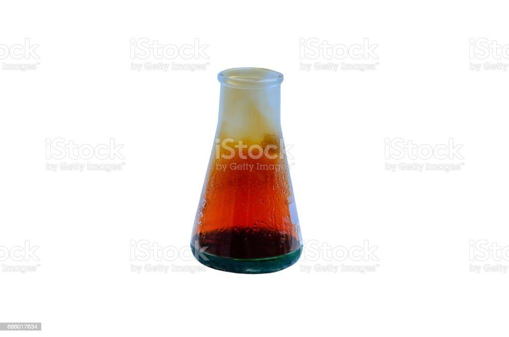 Beaker with reagents isolated on white stock photo