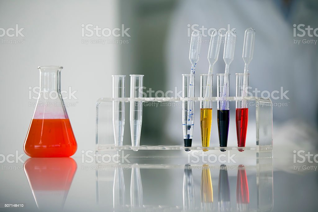 Beakers and Bottles in real lab stock photo
