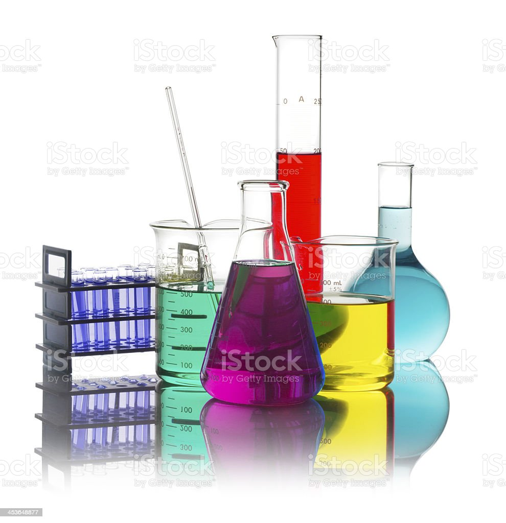 Beakers and Bottles Isolated on a White Background stock photo