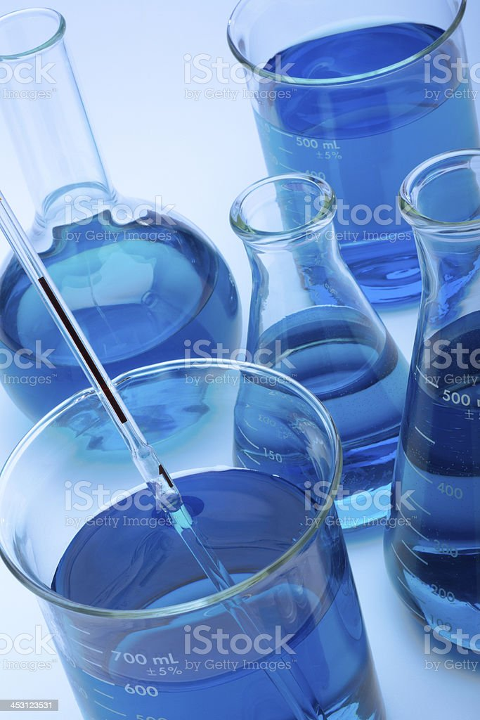 Beakers and Flasks in a Laboratory stock photo