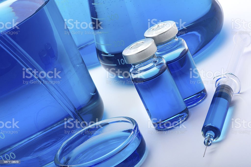 Beakers and Flasks in a Laboratory royalty-free stock photo