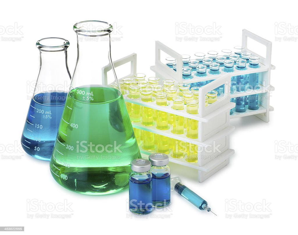 Beakers and Flasks Isolated on a White Background royalty-free stock photo