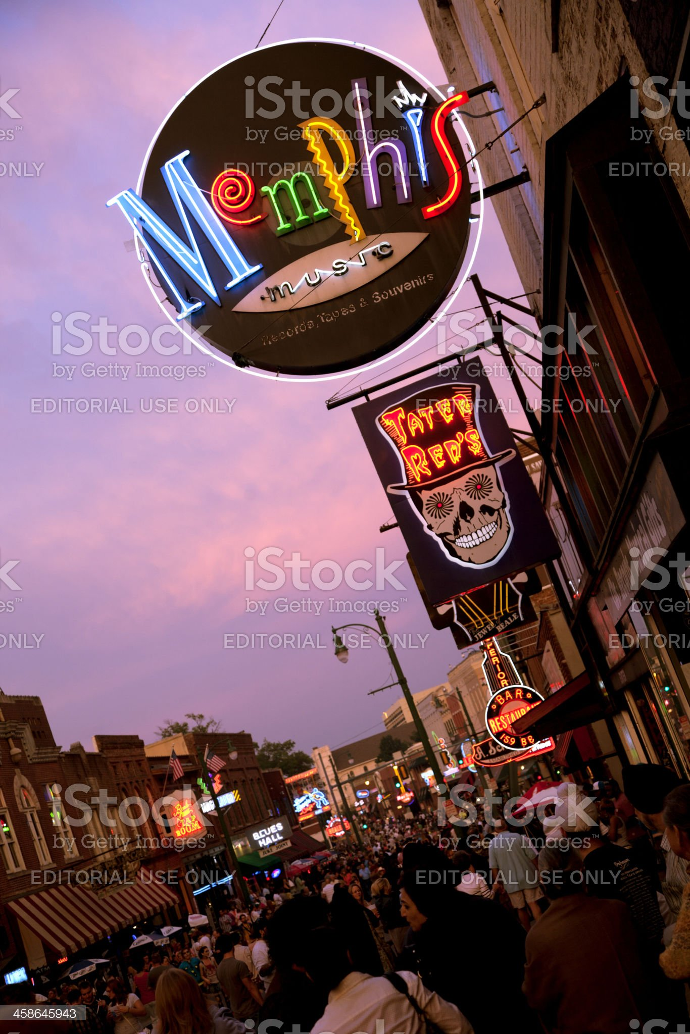 Beale Street Downtown Memphis Tennesse royalty-free stock photo