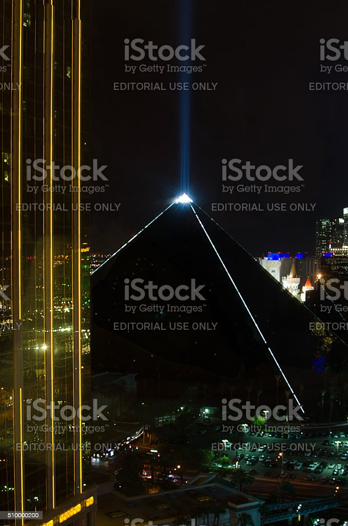 Beam of light at the top of the Luxor Casino stock photo