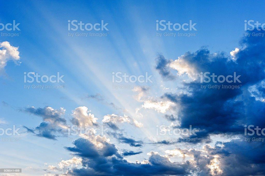 Beam of light in the sky stock photo