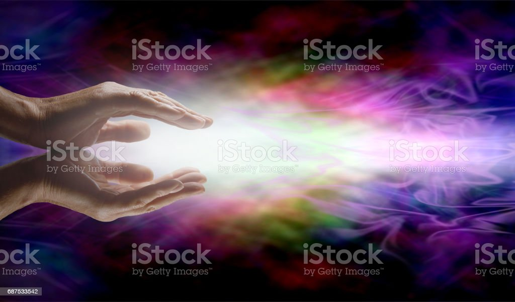 Beaming Reiki Healing Energy stock photo