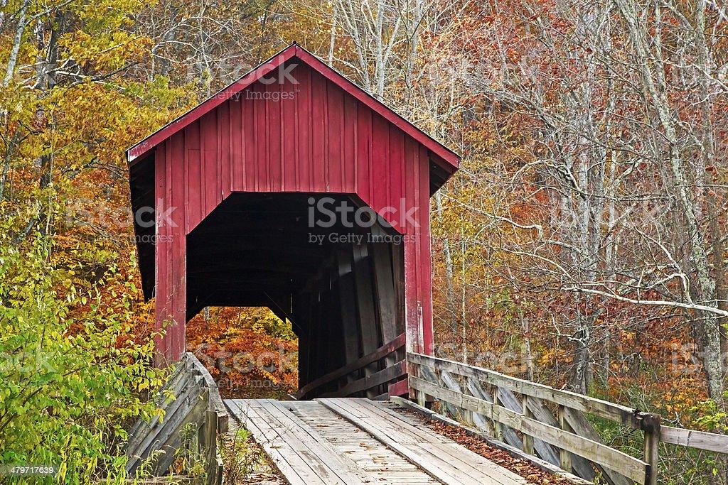 Bean Blossom Covered Bridge in Fall stock photo