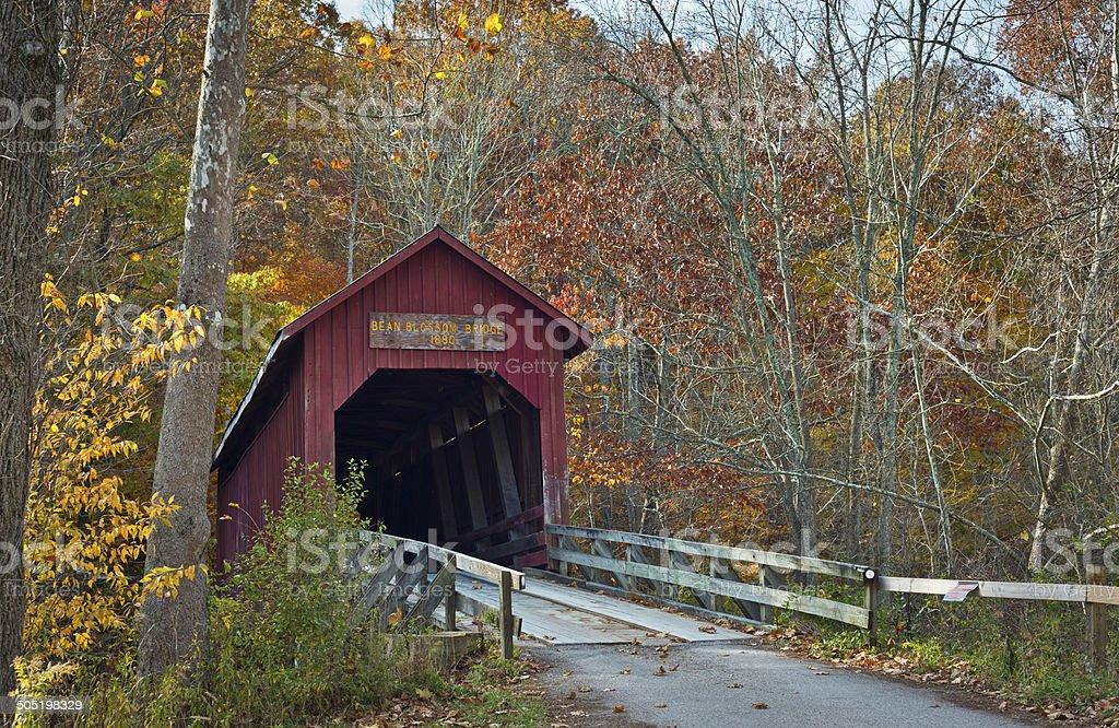 Bean Blossom Covered Bridge stock photo