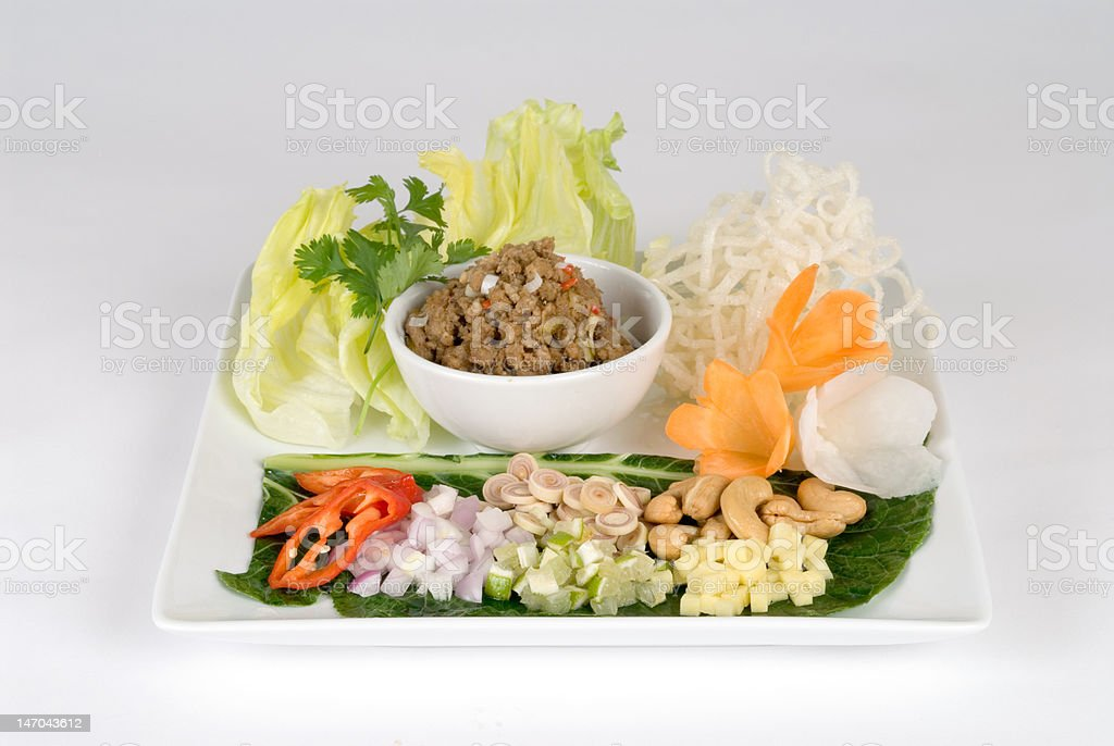 Bean dip with lettuce and vegetables royalty-free stock photo