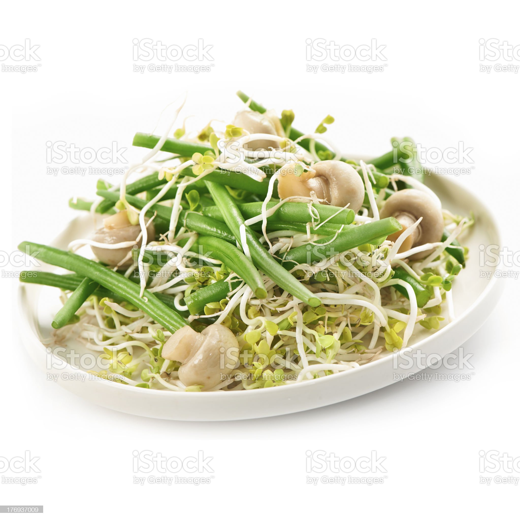 bean salad with radish sprout and mushrooms royalty-free stock photo