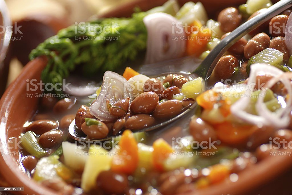 bean soup in the bowl stock photo