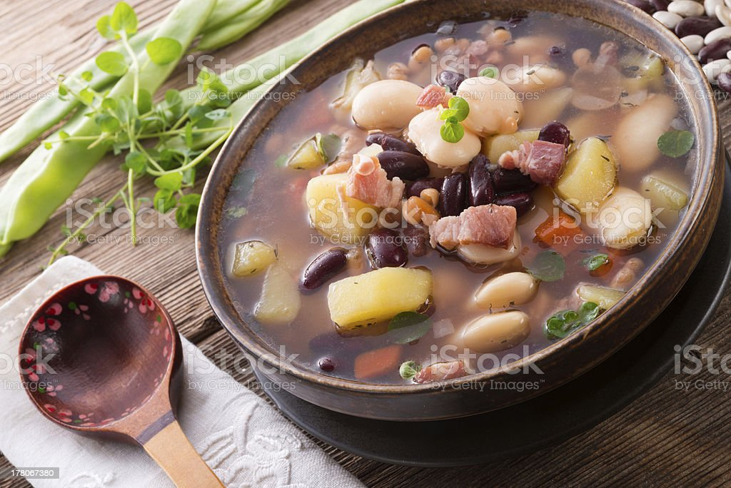 Bean Soup with Sausage stock photo