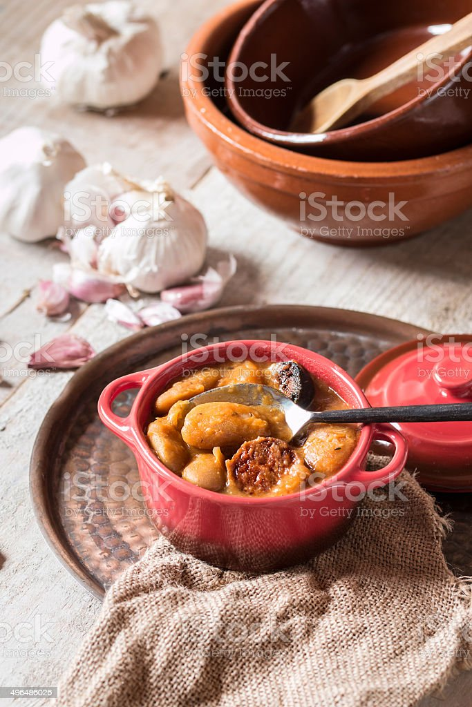 Bean stew with sausage stock photo