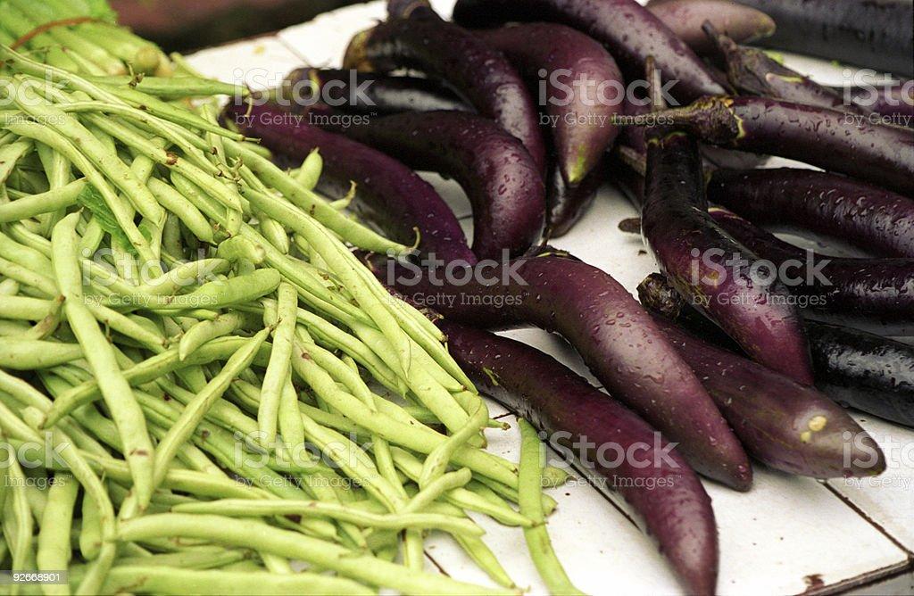 Beans and Eggplant stock photo