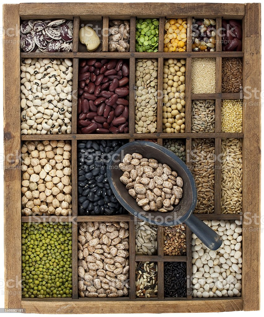 beans and  lentils in vintage typesetter box with scoop stock photo