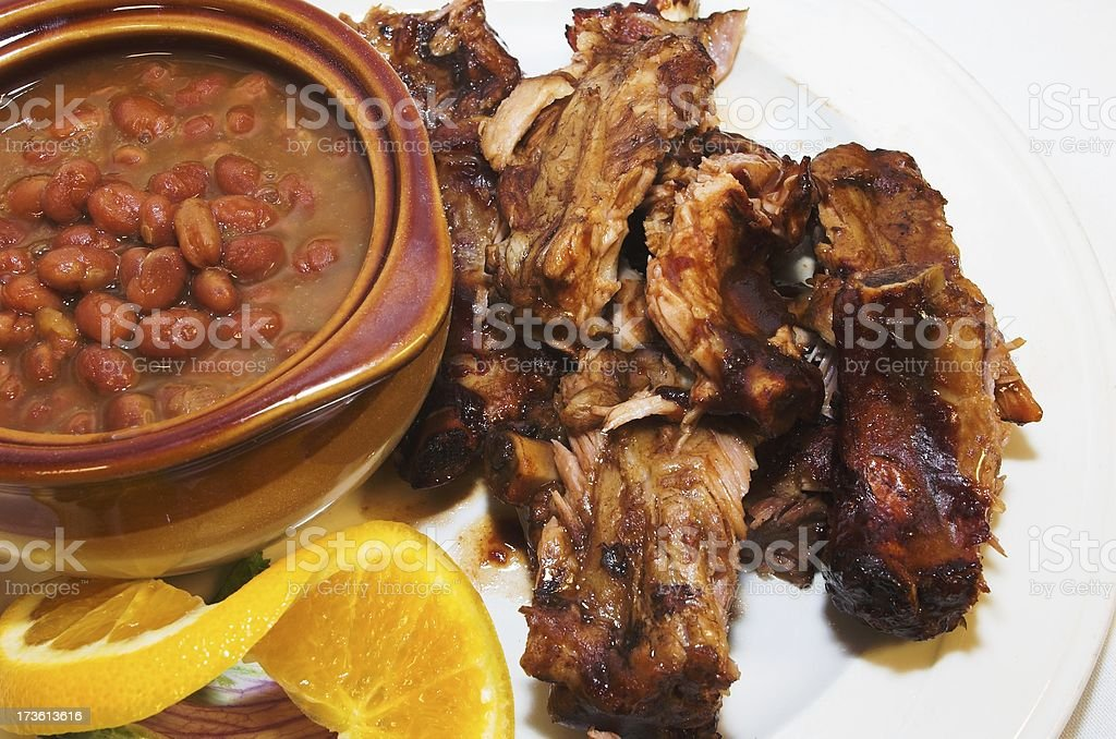 beans and ribs stock photo