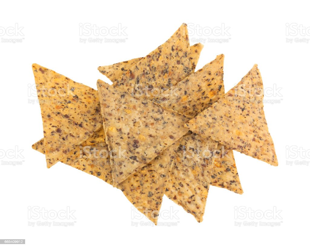 Beans and rice chips on a white background stock photo