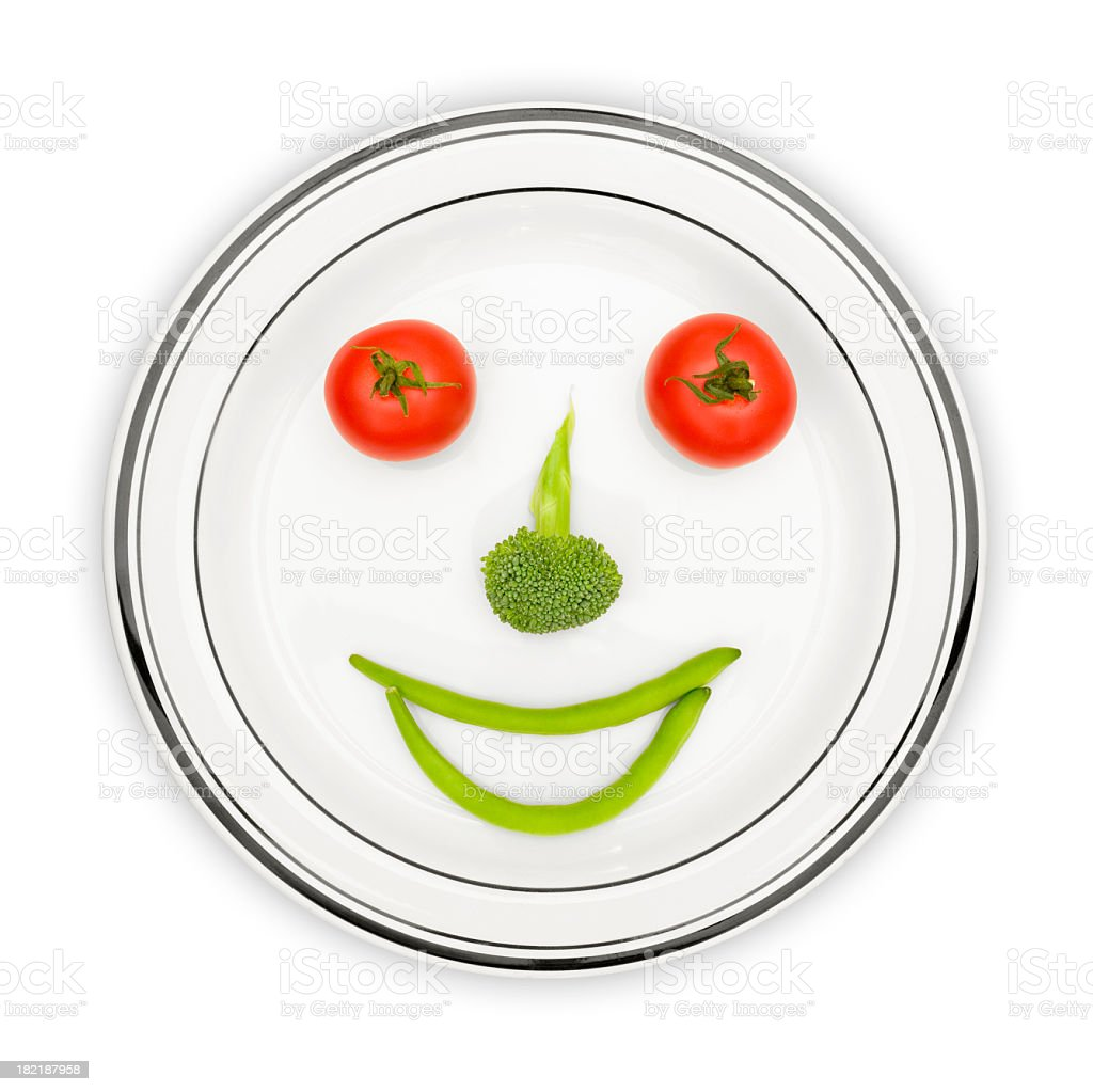 Beans, Broccoli and Tomatoes make me Happy stock photo