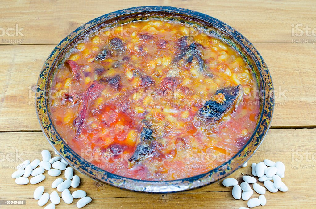 Beans cooked in a clay pot royalty-free stock photo